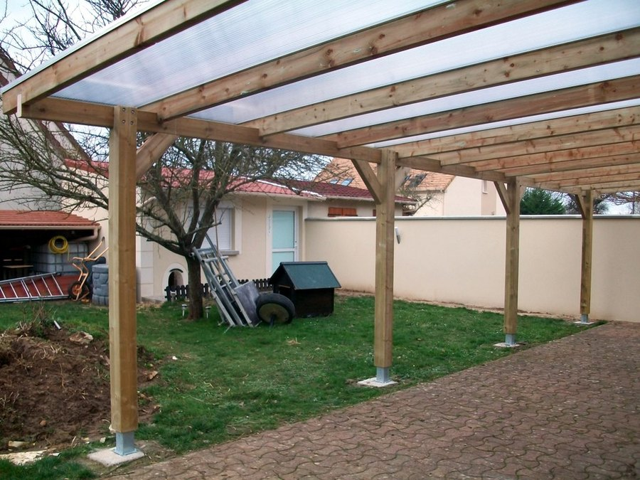 pergola bois avec toiture polycarbonate penmie bee. Black Bedroom Furniture Sets. Home Design Ideas